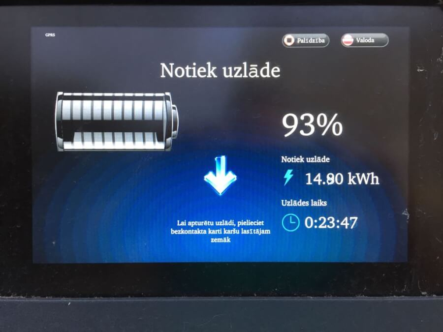 CSDD uzlādes stacijas ekrāns