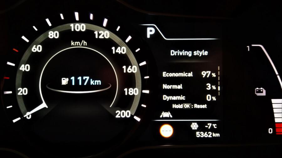Hyundai Kona Electric mērinstrumentu panelis