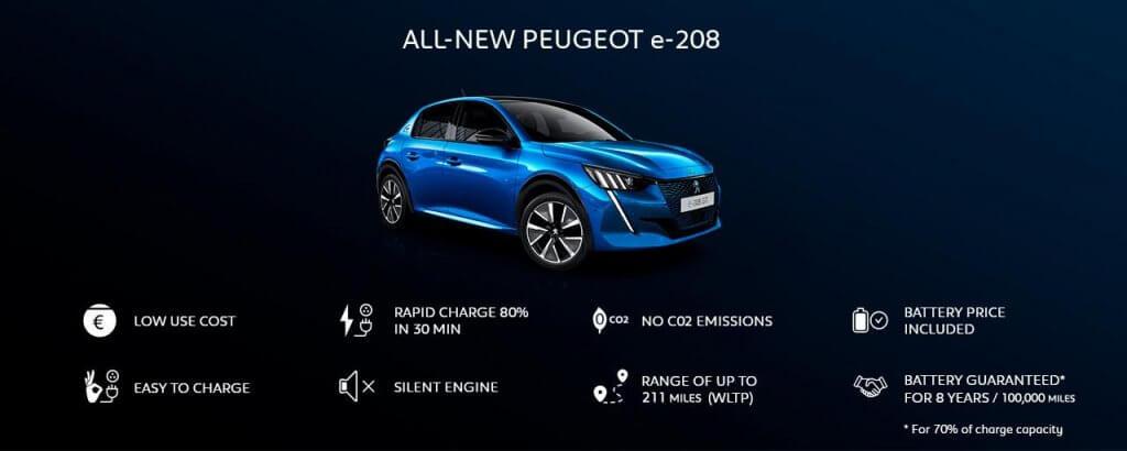 Peugeot e208 priekšrocības