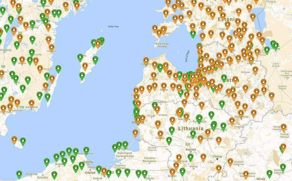 Uzlādes stacijas Latvijā un daļā Eiropas