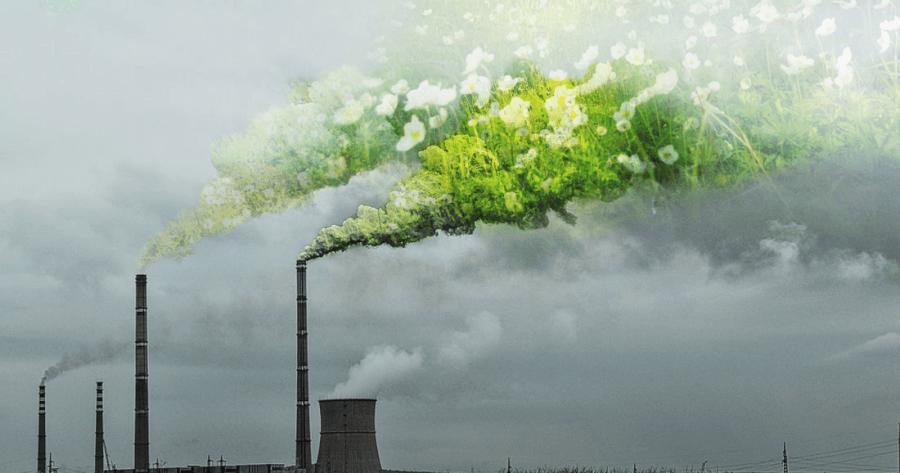 TEC ar dūmiem, kuros ir pļava
