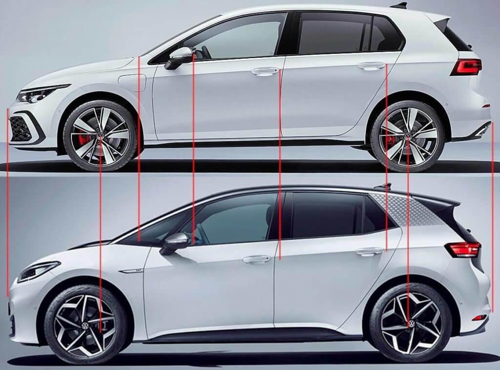 Volkswagen e-Golf un ID.3 izmēru salīdzinājums