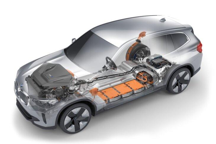 BMW iX3 elektriskās piedziņas skats