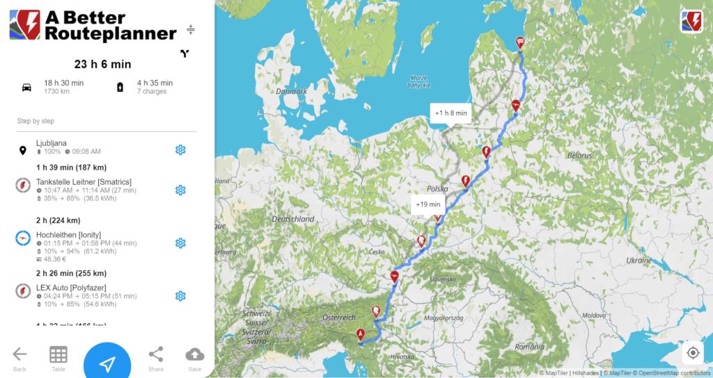 abetterrouteplanner.com paredzētais maršruts ar Škoda Enyaq iV 80