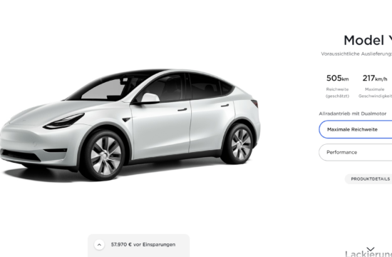 Tesla Model Y Vācijas cena